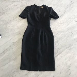 BURBERRY black fitted sheath dress short sleeves